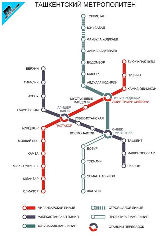 Схемы линий Ташкентского метро